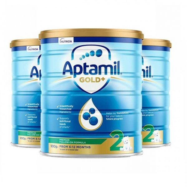 Aptamil 爱他美金婴幼儿奶粉 2段 6 -12个月宝宝 900g 罐装 【 3罐包邮】