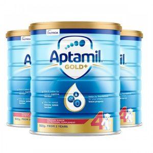 Aptamil 爱他美金婴幼儿奶粉 4段 2岁以上 宝宝 900g 罐装 【 3罐包邮】