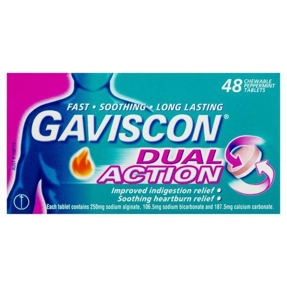 Gaviscon 双重效能薄荷味咀嚼片 48粒